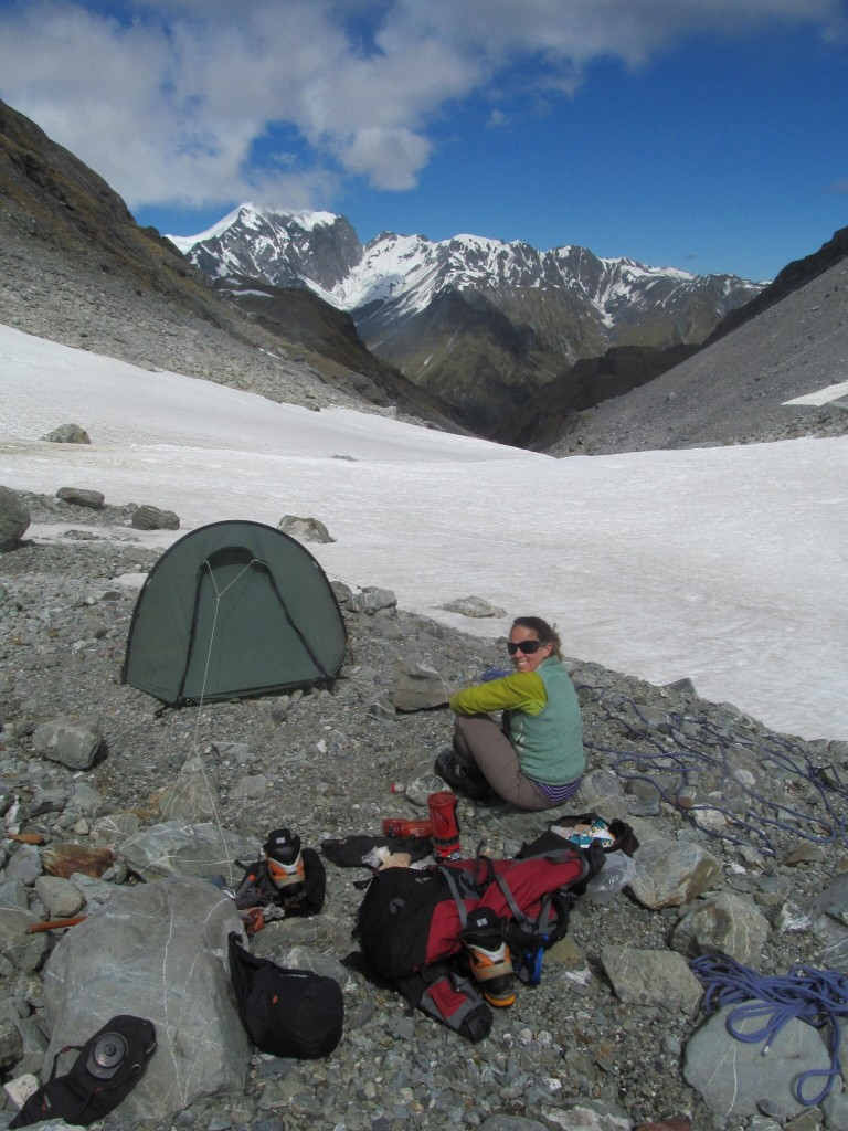 Amy at camp below the north face of Lambert Peak, at the edge of the Garden of Eden Ice Plateau