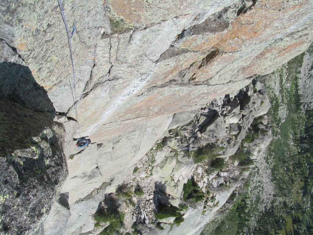 Joe Frost following the second pitch of a route on Ra Mountain in the Wind River Range