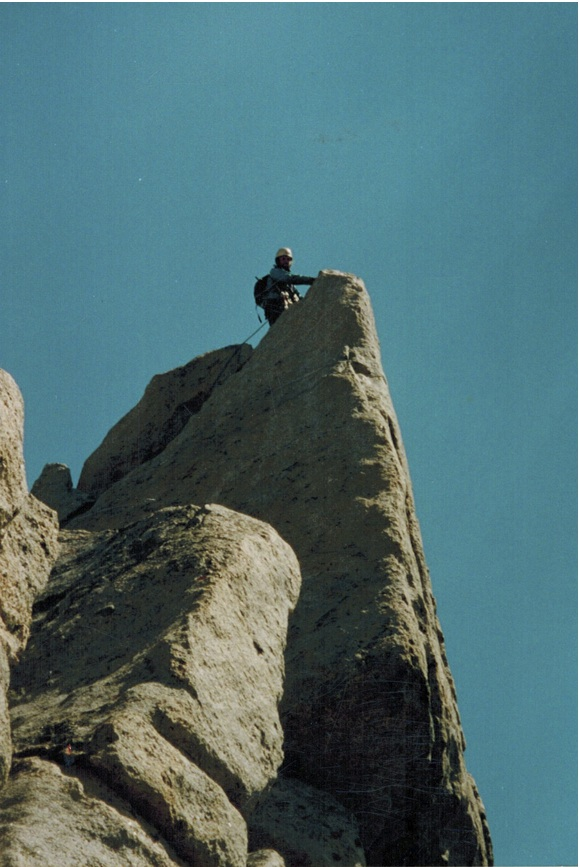 Reaching the summit of Nylon Peak, Wind River Range, on my first course as a NOLS instructor. September 2001.
