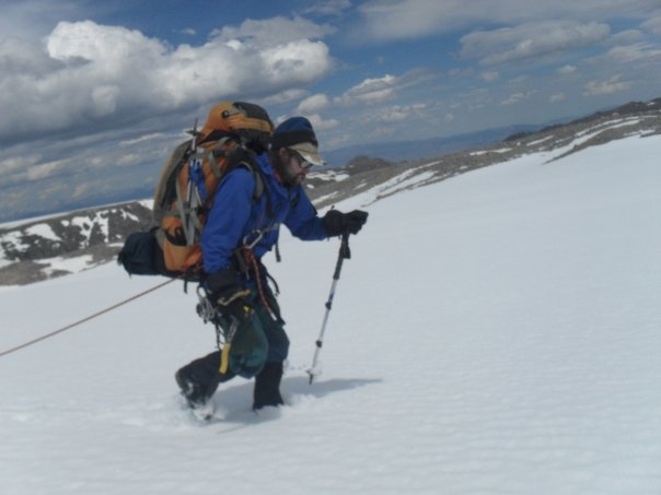 Trekking across the Continental Glacier in the Winds.  Photo: Will Copeland