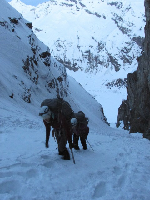 In the gully, en route to Camp One