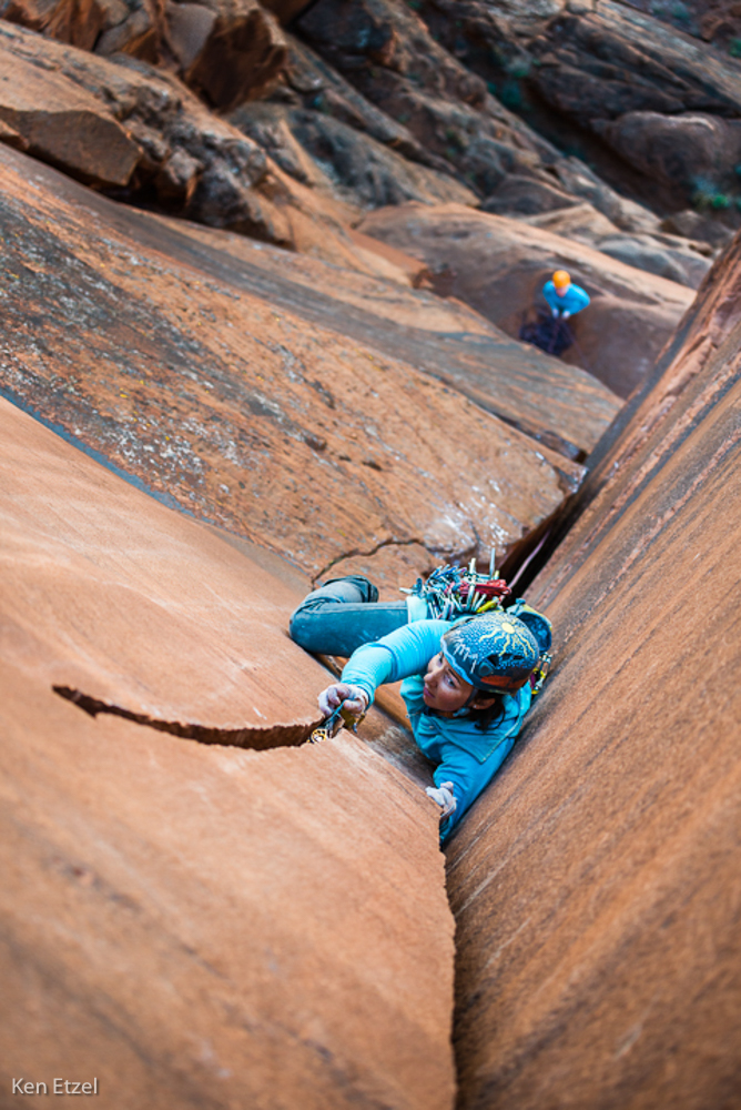 Trish McGuire on the second pitch of the Left Boob, Green River Towers. Photo courtesy of Ken Etzel