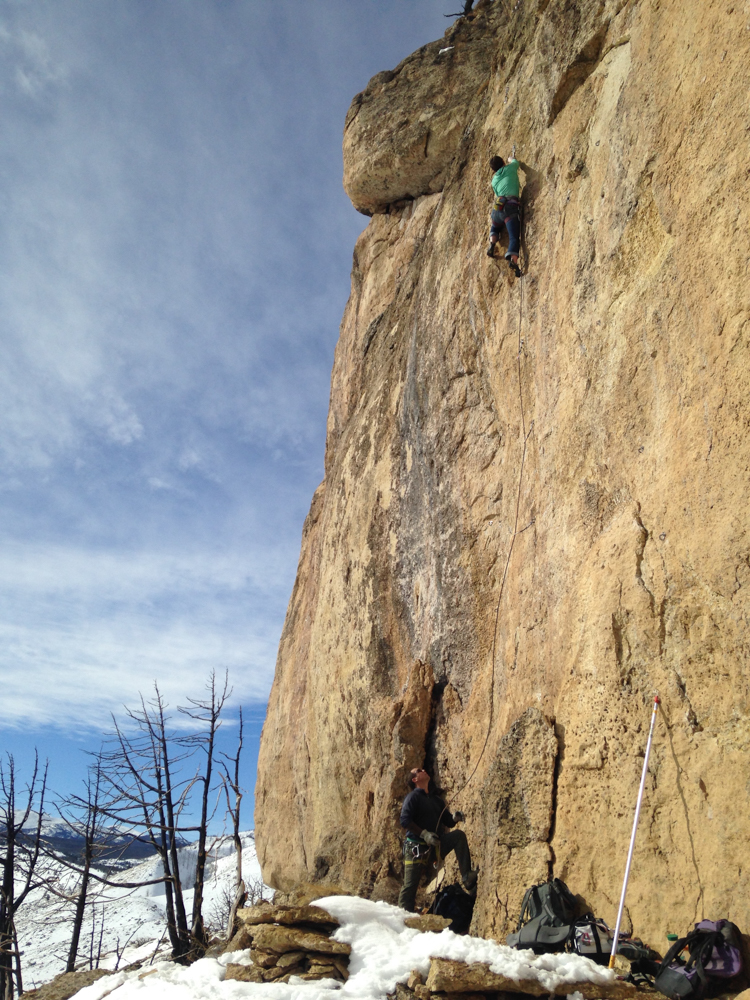 Mid winter Sinks Canyon climbing. Anna Haegel on